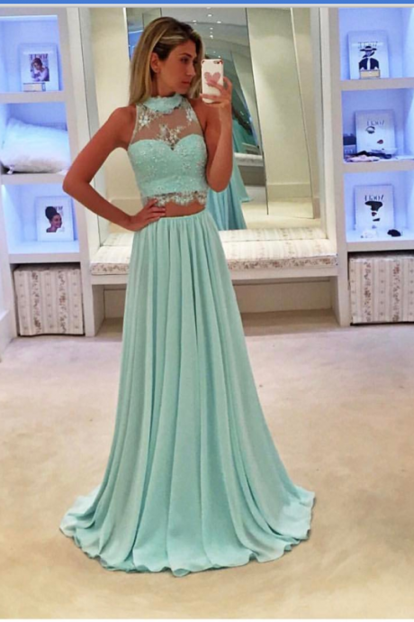 Sky Blue Prom Dresses,Two Piece Prom Dresses,Evening Gowns,Formal Dresses 2018