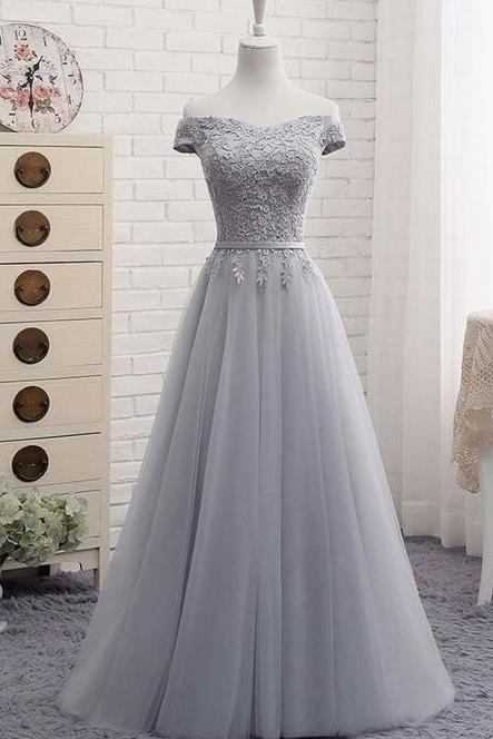 Lace Appliques Off-The-Shoulder Floor Length Tulle A-Line Prom Dress Featuring Lace-Up Back, Evening Dress