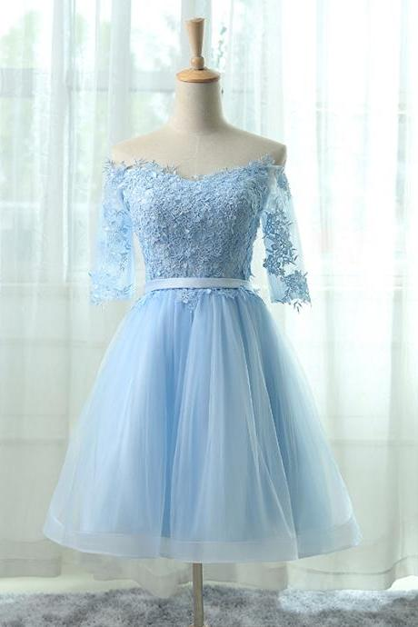 Sky Blue Homecoming Dresses,Short Prom Dresses,Long Sleeve Graduation Dress
