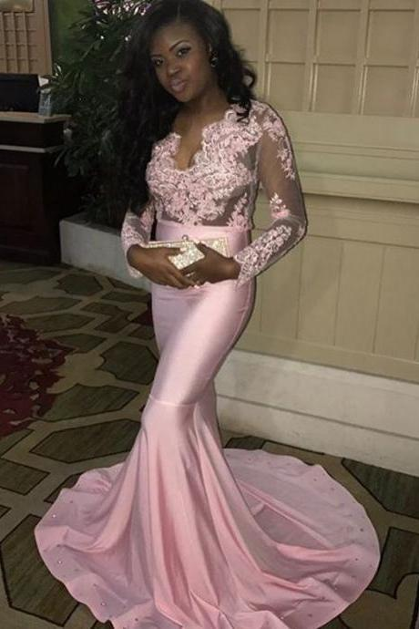 Pink African Prom Dresses Long 2018 Formal Evening Dress Mermaid Party Dress