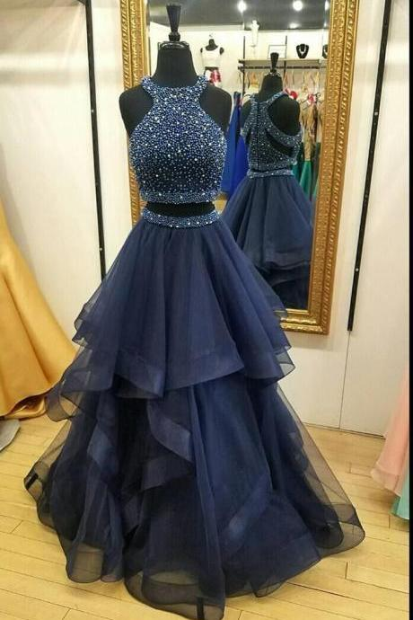 Two Piece Prom Dress,Custom Made Beading A-line Sleeveless Prom Dress,Formal Evening Gowns,Party Dresses 2018