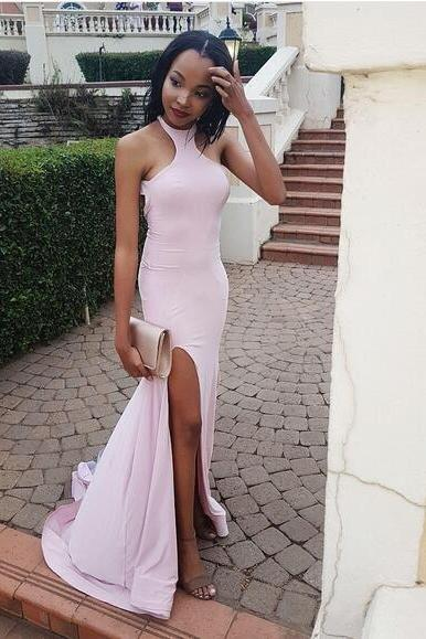 Cheap Pink Long Prom Dress,Sexy Split Mermaid Prom Dress,Formal Evening Gowns,Party Dresses 2018
