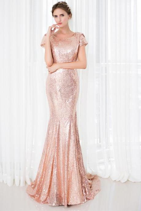Rose Pink Prom Dresses,Mermaid Evening Dress,Sequins Formal Gowns,Banquet Dress