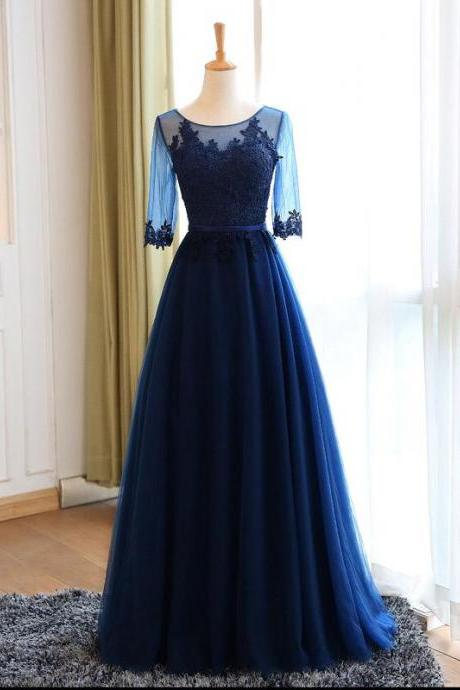 Sheer Lace Appliqués A-line Floor-Length Prom Dress, Evening Dress with 3/4 Sleeves