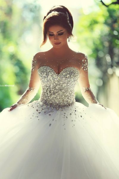 Ball Gown Wedding Dresses,Long Sleeve Wedding Dress,Handmade Bridal Gowns,Bridal Dress 2018
