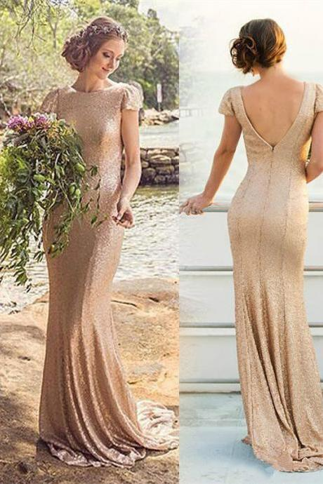 Gold Sequins Bridesmaid Dresses,Country Mermaid Bridesmaids Dress,Sexy Maid Of Honor Dress,Wedding Party Dress
