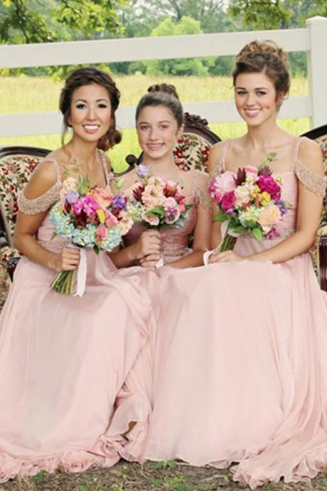 Blush Pink Bridesmaid Dresses,Beaded Chiffon Bridesmaid Gowns,Country Maid Of Honor Dress