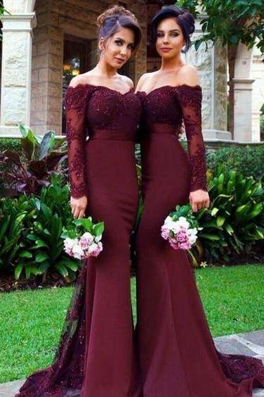 Long Sleeve Bridesmaid Dresses,Mermaid Maid Of Honor Dress,Lace Wedding Party Gowns,Bridal Dress 2018