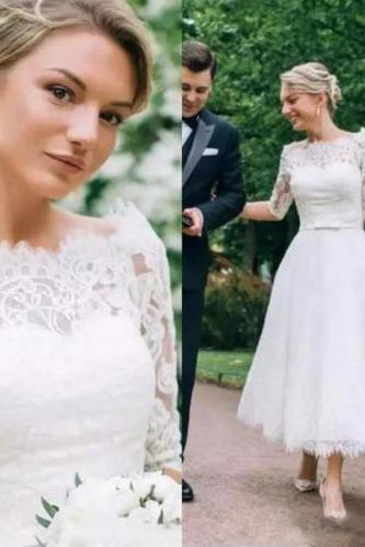 Tea Length Wedding Dresses,Lace Wedding Dress,Wedding Dresses 2019,Half Sleeves Bridal Dress,Wedding Gowns