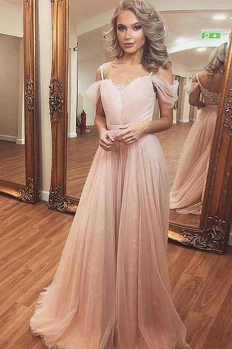 Blush Pink Prom Dress,Off The Shoulder Prom Dresses,Prom Dress 2019,A Line Chiffon Formal Evening Dress,robe de soiree