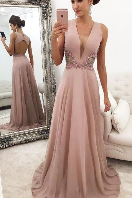Deep V Neck Prom Dress,Prom Dresses 2019,Evening Gowns,Formal Dress,Graduation Dress,Banquet Dress