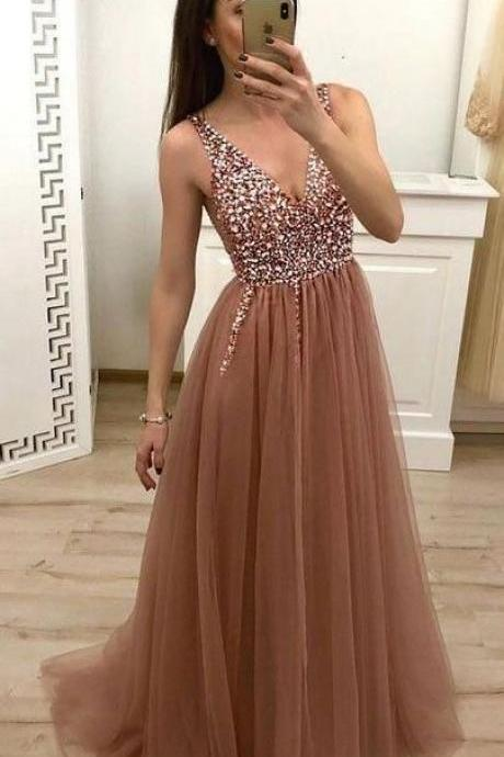 Beaded Crystal Prom Dress,V Neck Prom Dress,Prom Dresses 2019,Evening Gowns,Formal Dress,Graduation Dress,Banquet Dress