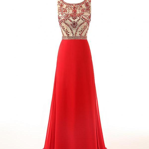 Red Prom Dresses,Beaded Prom Dresses 2018,Formal Women Evening Gowns,Party Dresses