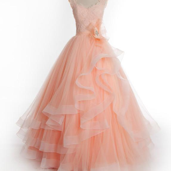 Coral Prom Dresses,Lace Prom Dresses,Prom Dresses 2018,Formal Dress,Evening Party Gowns
