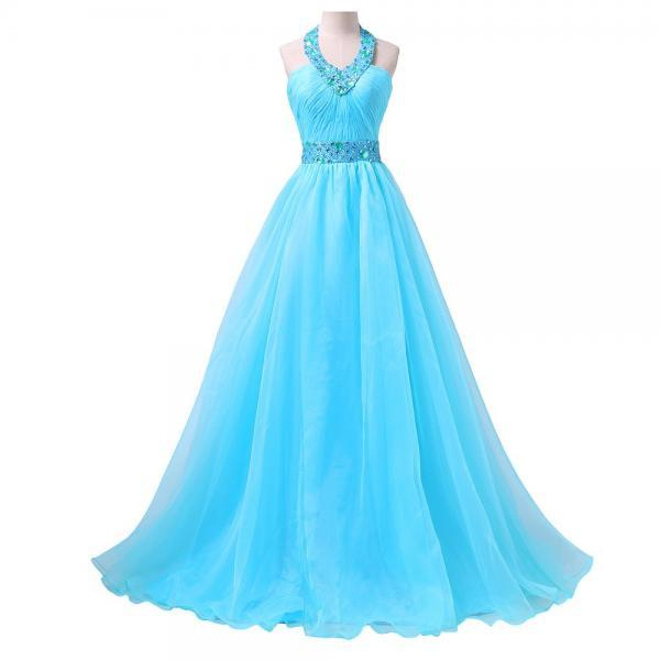 Sky Blue Prom Dresses Long 2018 Halter Floor Length Formal Evening Dress For Women Party Gowns