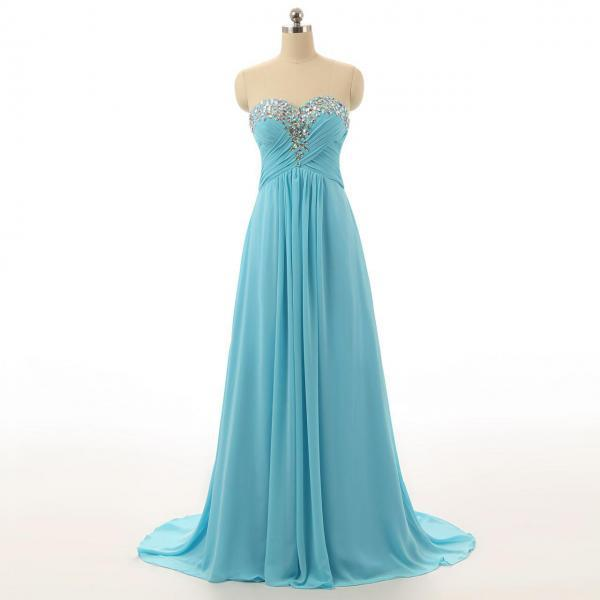 Strapless Sweetheart Ruched Beaded Chiffon Long Prom Dress, Evening Dress Featuring Lace-Up Back