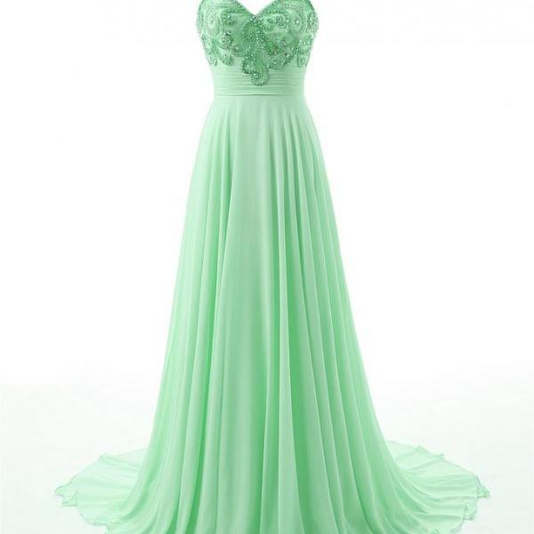 Mint Green Prom Dresses,Beaded Prom Dresses,Formal Women Evening Gowns,Party Dresses
