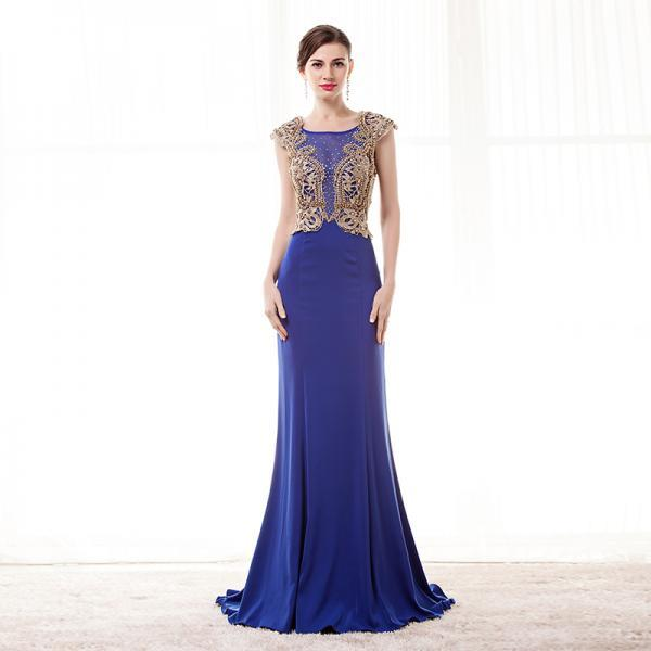 Royal Blue Evening Dresses Mermaid 2018 Cap Sleeve Sheer Beading Prom Dress Formal Women Party Dress