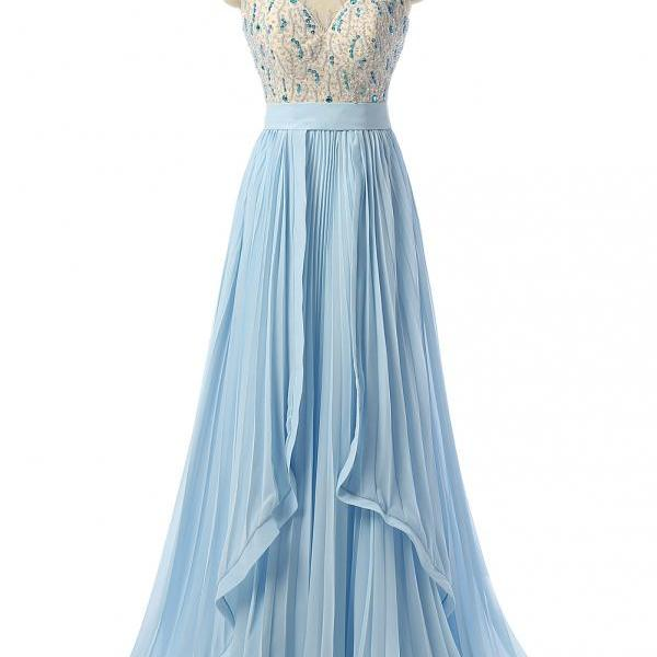 Sky Blue Prom Dresses,Beaded Prom Dress,Formal Women Evening Dresses,Robe De Soiree,Party Dress 2018