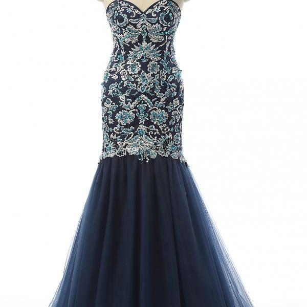 Navy Strapless Sweetheart Lace Beaded Long Prom Dress, Evening Dress