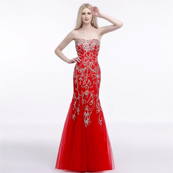 High Quality Evening Dresses,Mermaid Beading Prom Dresses,Red Sweetheart Prom Dresses 2018,Formal Dress,Vestido De Festa