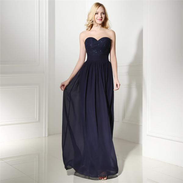 Navy Blue Lace and Beaded Embellished Sweetheart Floor Length A-Line Formal Dress, Prom Dress