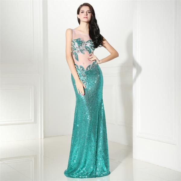 Sexy Sequins Mermaid Prom Dresses For Women 2018 Robe De Soiree Illusion Formal Evening Dress