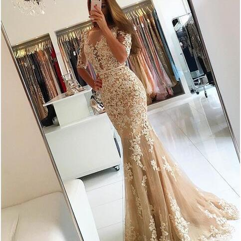 Champagne Mermaid Prom Dresses Long 2018 Half Sleeves Lace Evening Gowns Foemal Dress