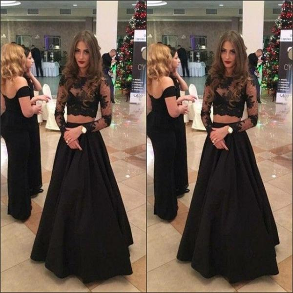 Black Two Piece Prom Dresses Long Sleeves 2018 Evening Gowns Sheer Formal Dress