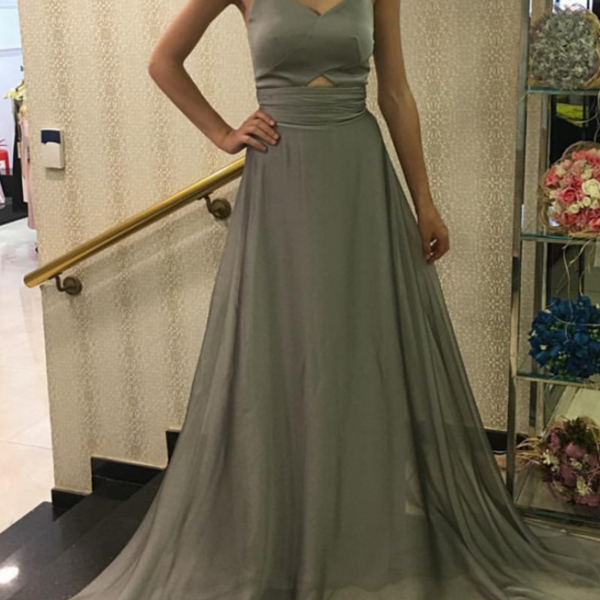 Simple Grey A-line Chiffon Prom Dress,Evening Dresses 2018,Formal Gowns,Banquet Dress,Party Gowns