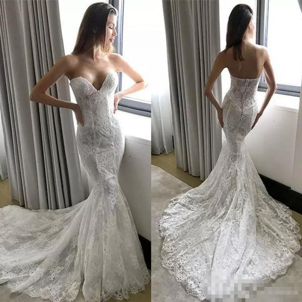 Mermaid Lace Wedding Dresses,Sweetheart Wedding Dress,Handmade Bridal Gowns,Vintage Wedding Dress 2019,Vestido De Noiva